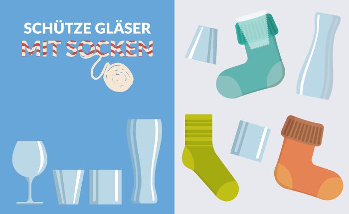 Schütze Gläser mit Socken