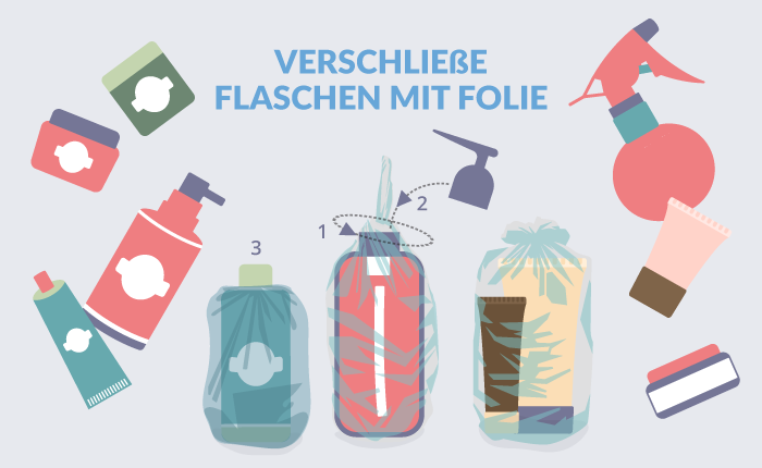 Verschließe Flaschen mit Folie