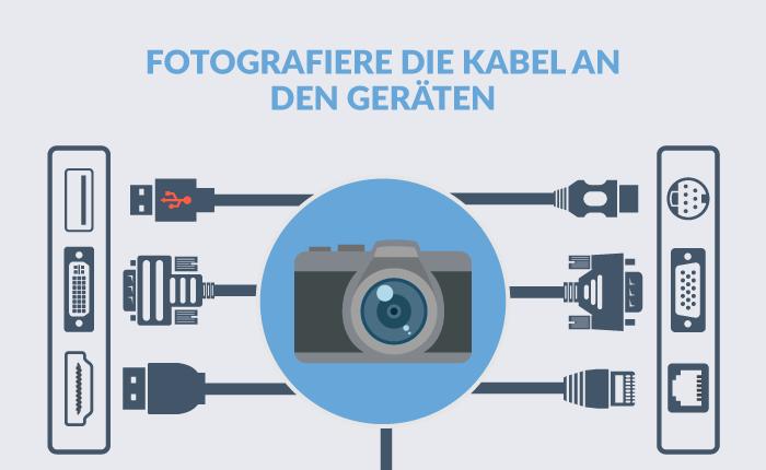 Fotografieren die Kabel an den Geräten